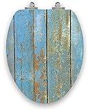 TOPSEAT Acrylic Shabby Chic, Lt. Blue Weathered Wood, Slow Close Chromed Hinges, Elongated Toilet Seat