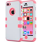 iPhone 5C Case, ULAK 3 in 1 Shield Series Hybrid Case for Apple iPhone 5C with Soft Silicone Inner Case and Hard PC Outer Case Cover (White + Water Red)