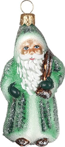 Ino Schaller Blown Glass Mini Green Glistening Santa Ornament by Joy To The World Collectibles