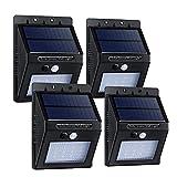 【4個同梱】Qtuo 壁掛けソーラー充電式16LEDライト 自動点灯 センサーライト 動体検知 防水 電気不要 屋根/軒下/玄関/壁など対応 ブラック