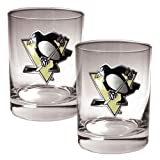 Great American Products Gdrgdr012-4 2Pc Rocks Glass Set- Primary Logo- Nhl Penguins