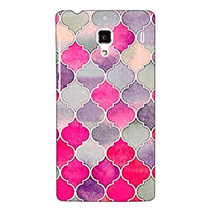 Jugaaduu Pink Grey Moroccan Tiles Pattern Back Cover Case For Redmi 1S