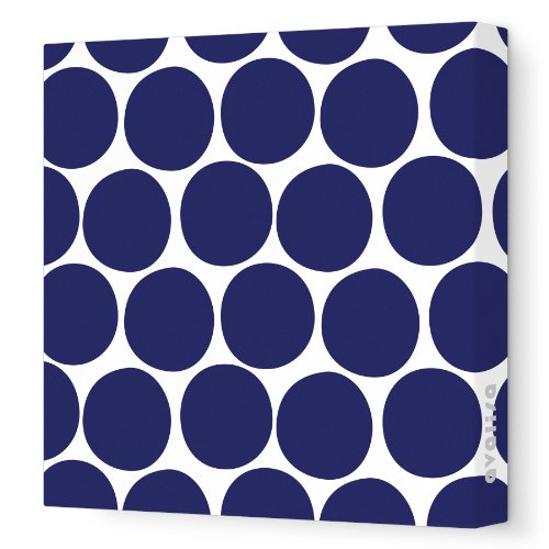 "Avalisa Stretched Canvas Nursery Wall Art, Dots, Navy, 12"" x 12"""