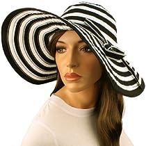 """50+ UPF Beach Summer Stripe Shapeable Wire Wide 5"""" Brim Floppy Sun Hat Cap Black"""