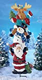 Stacked Santa And Friends Lighted Christmas Garden Stake