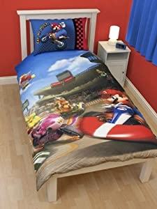 parure housse de couette linge de maison super mario bros kart lit 1 personne decoration chambre. Black Bedroom Furniture Sets. Home Design Ideas