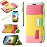 Pandamimi ULAK Colorful PU Leather Wallet Type Magnet Design Flip Case Cover for Samsung Galaxy S4 Galaxy SIV i9500 + Screen Protector + Stylus(Red+Yellow+Pink) with Auto Wake/Sleep Smart Cover Function (Not Suit for Samsung S4 Active)