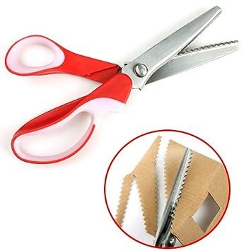 zackenschere stoffschere zick zack zickzackschere schere schneiderschere mit komfortgriff rot. Black Bedroom Furniture Sets. Home Design Ideas
