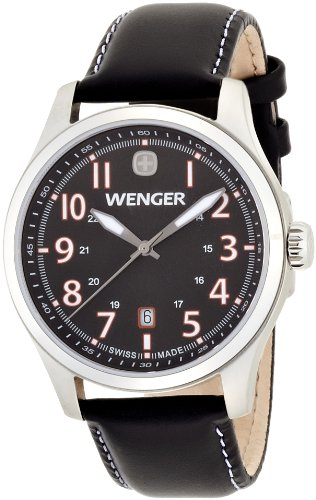 Wenger Terragraph 01.0541.104 - Reloj analógico de cuarzo para hombre, correa de cuero color negro (agujas luminiscentes)
