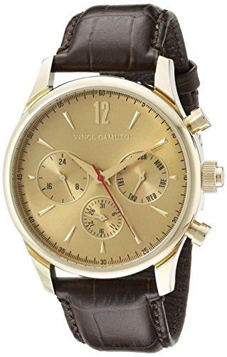 Vince Camuto VC/1078GDGP - Reloj unisex, correa de cuero color marrón