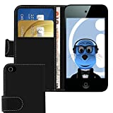 ITALKonline BLACK Executive Wallet Case Cover Skin Cover with Credit / Business Card Holder For Apple iPod Touch 4 4G (4th Generation) 8GB, 32GB, 64GB