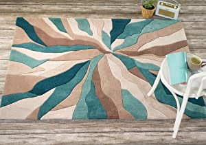 Very Large Quality Modern HeavyWeight Modern Art Design Turquoise Beige Area Rug in 160 x 220 cm (5'3'' x 7'4'') Carpet by Lord of Rugs