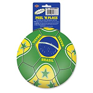 Beistle 12-Pack Peel 'N Place Stickers, 5-1/4-Inch, Brazil