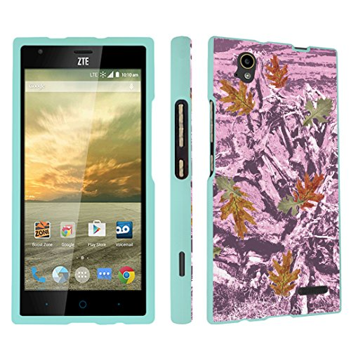 DuroCase ZTE Warp Elite N9518 Boost Mobile Released in 2015 Hard Case Mint - Hunter Camo Lt Pink