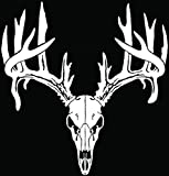 Deer Buck Antlers Skull Hunting Car Truck Window Bumper Vinyl Graphic Decal Sticker- (8 inch) / (20 cm) Tall GLOSS WHITE Color