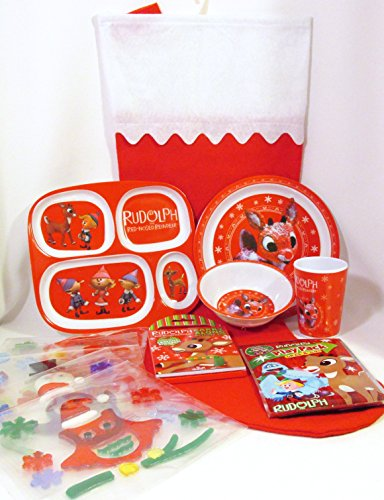 Bundle (8 Items) - Rudolph The Red-Nosed Reindeer 4-Pc Melamine Mealtime Set, Big Felt Stocking, Carry Along Activity Pad, Play Pack Grab & Go, and Gel Sticker Clings