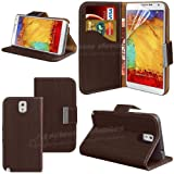 Mobile Junction ® Wood Pattern Samsung Galaxy Note 3 III N9000 N9005 Leather Wallet Case Cover Side Book Style Flip Phone Pouch with Viewing Stand & Card Holder Slots Incl. Free Screen Protector (Dark Chocolate)