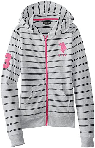 Us Polo Association Big Girls' Striped French Terry Hooded Jacket, Light Heather Gray, 7/8