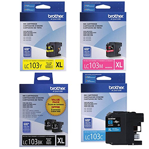 Brother High Yield Color Ink Cartridge, XL, Black/Cyan/Magenta/Yellow, Pack of 4 (LC103) (Brother Lc103bk Xl compare prices)