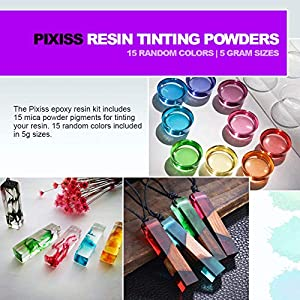 Epoxy Resin Crystal Clear Casting Resin for Epoxy and Resin Art | Pixiss Brand Easy Mix 1:1 (17-Ounce) | 15 Mica Resin Tinting Powder Pigments for Tumblers, Jewelry Resin, Molds, Crafting Resin Kit (Color: Resin & Mica Powder)