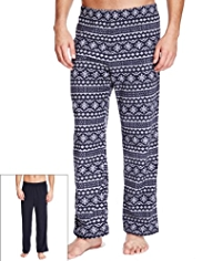 2 Pack Fair Isle Fleece Pyjama Bottoms