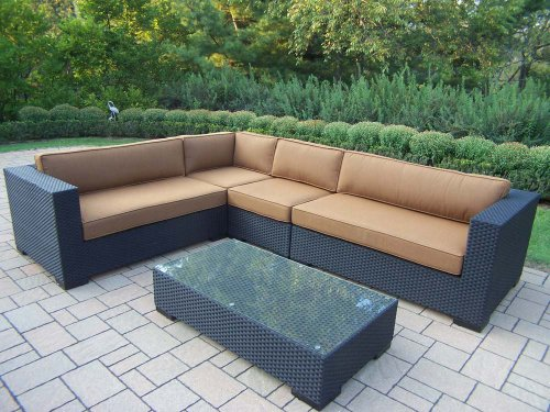 Oakland Living Hampton 5-Piece Resin Wicker Sectional with Sunbrella Cushions photo