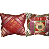 2 Pink Orange Ethnic Vintage Sari Zari Borders Toss Pillow Cushion Covers Free Shippingby Mogulinterior