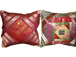 2 Pink Orange Ethnic Vintage Sari Zari Borders Toss Pillow Cushion Covers Free Shipping
