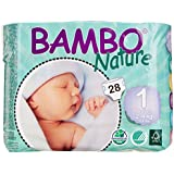 Bambo Nature Newborn Nappies Size 1 (2-4Kg, 4-9lb) - 6 x Packs of 28 (168 Nappies)