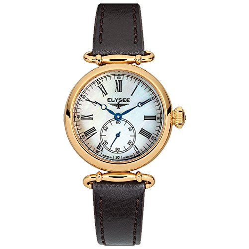 ELYSEE Made in Germany Cecilia 38023 30mm Gold Plated Stainless Steel Case Black Calfskin Mineral Women's Watch