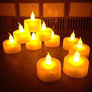 12 Battery Operated LED Tealight Candles Flameless Heatless Faux Wedding Holiday Christmas Thanksgiving Party Light Dozen