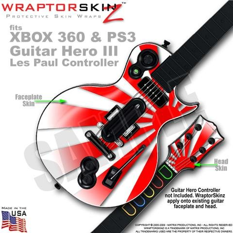 Rising Sun Red WraptorSkinz Skin fits XBOX 360 & PS3 Guitar Hero III Les Paul Controller (GUITAR NOT INCLUDED)