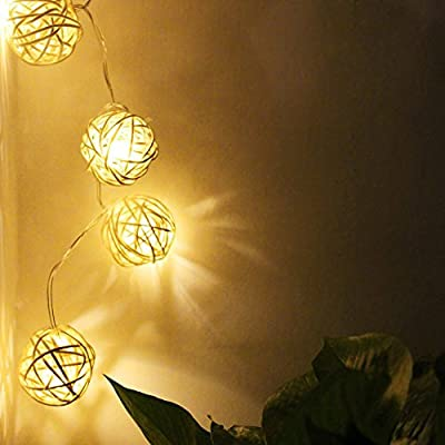 Rattan Ball LED Christmas String Lights w/ Power Adapter - 29ft Length, Warm White 40pcs Balls for Christmas, Holiday, Party, Event Decorative Lighting (Rattan Ball W/Power Adapter)