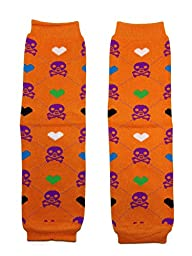 Rush Dance Halloween Parties/ Parades Boys or Girls Baby/ Toddler Leg Warmers (One Size, Orange & Purple Skull)