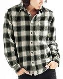 チェック柄ネルシャツ チェックシャツ 長袖 オンブレ メンズ カジュアル Mサイズ 3ホワイト