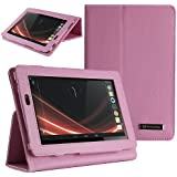 Evecase Leather Cover Protector Case with Stand for Acer Inconia Tab A110 Mini 7-inch Tablet - Pink