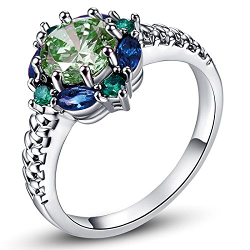 Psiroy 925 Sterling Silver 6mm Green Amethyst Filled Ring Flower Shaped Band (Pearl Ring Size 10 compare prices)