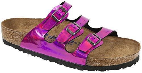Birkenstock Women's Florida Soft Footbed Sandal Mirror Pink Birko-Flor Size 39 M EU