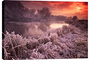 LARGE FROSTY LANDSCAPE CANVAS PICTURE WINTER SUNRISE 20 x 14 inches mounted around a 1.4 inch frame ready to hang