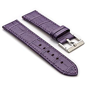 StrapsCo Purple Premium Crocodile Embossed Flat Leather Watch Strap in Size 16mm