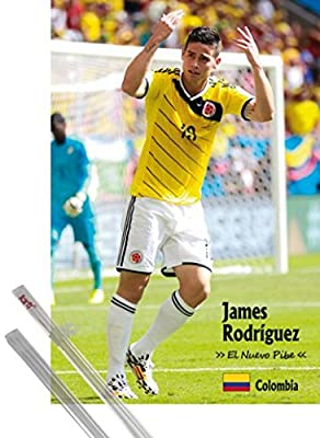 Poster + Hanger: Soccer Poster (36x24 inches) James Rodríguez, El Nuevo Pibe and 1 set of 1art1® Poster Hangers