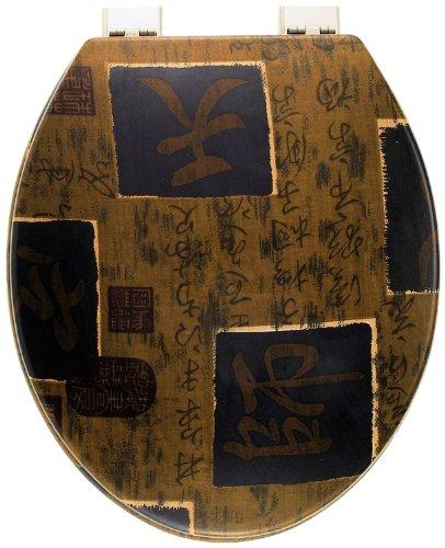 WC-Sitz Dekor Shogun braun | Toilettensitz | WC-Brille aus Holz | Metall-Scharnier