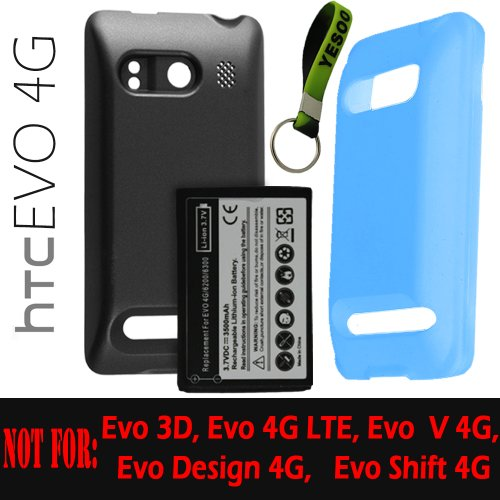 HTC Evo 4G Extended Battery (3500mAh)+ Battery Cover + Extended Battery Silicone Case (Light Blue) + Exclusive Black And Green Color Key Chain Kit
