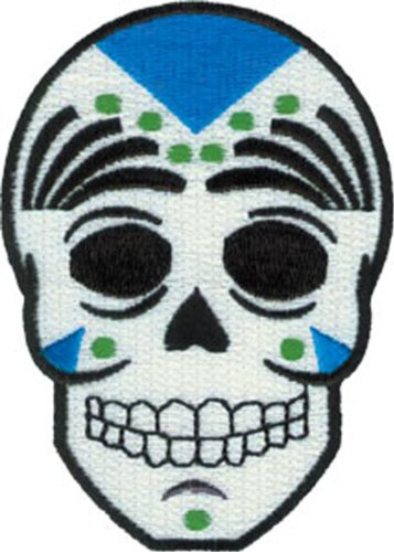 Application Candy Skull Blue, Black and White Patch