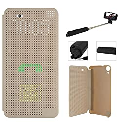 DMG Dot View Interactive Flip Cover Case for HTC Desire 820 (Gold) + Wireless Bluetooth Selfie Stick with Image Zoom