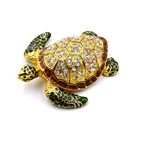 Aisa® Beautiful Sea Turtle Crystal Studded Pewter Jewelry Trinket Box with Gift Box