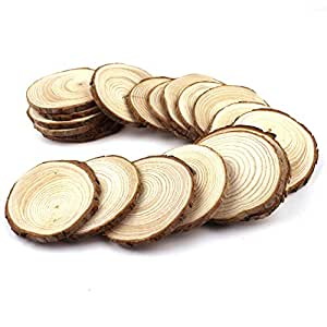 Goodlucky365 20pcs 2 2 5 unfinished natural for Wood circles for crafts