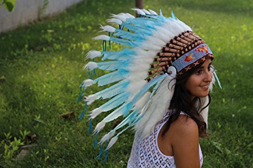 Turquoise Indian Headdress, Native American Warbonnet