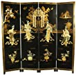 """Asian Furniture & Décor - 72"""" Lady Generals Chinese Lacquer Decorative Oriental Art Screen"""