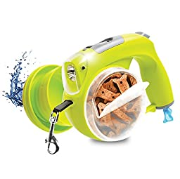 Protocol Retractable Leash for Dogs - Comes with Bowl, Treat Storage, Baggie Dispenser, LED Light and Clock